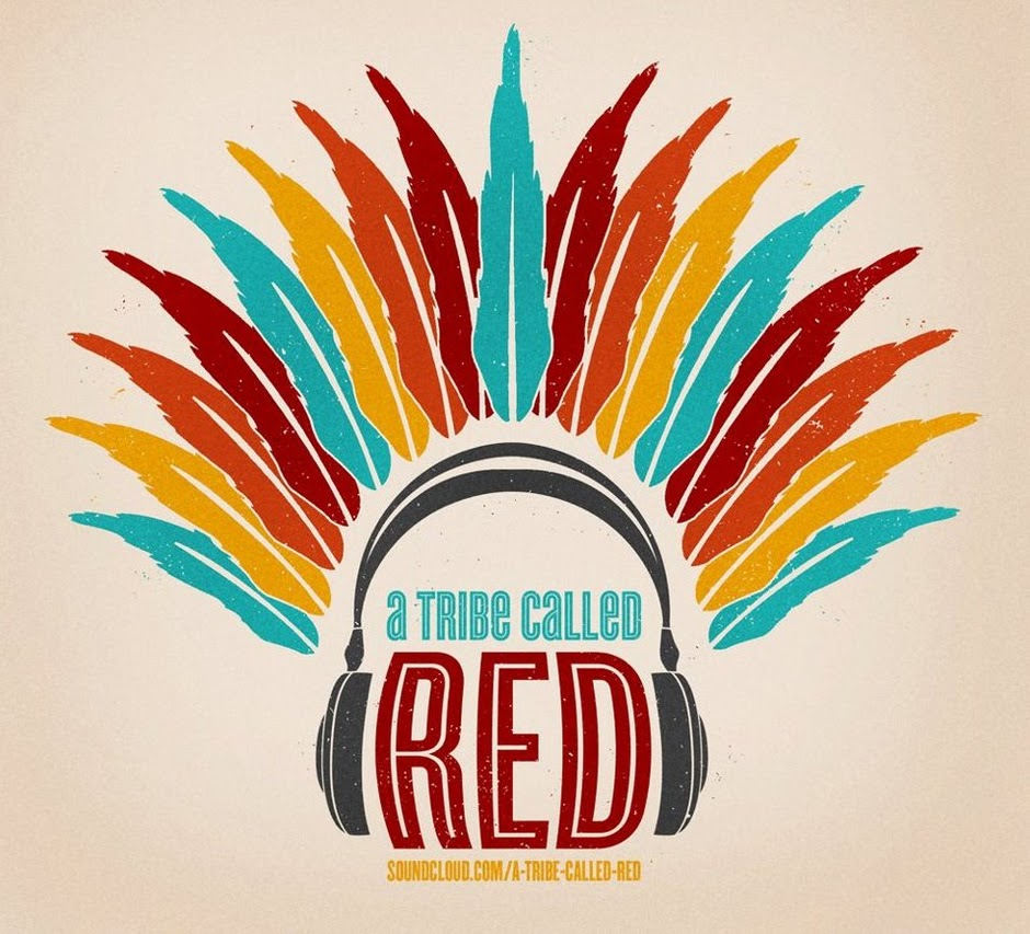 Logo for A Tribe Called Red, feathers like a headdress around a pair of headphones